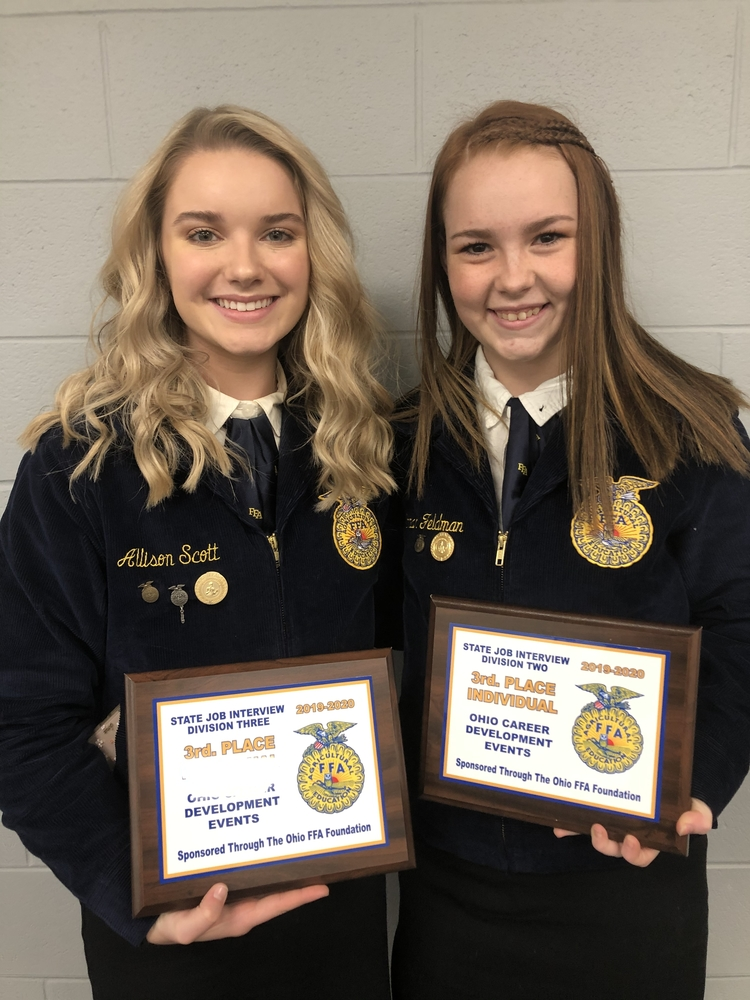Allison Scott and Hannah Feldman compete at State FFA Job Interview contest.