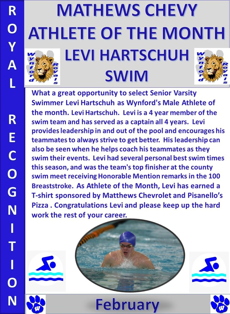 Levi Hartschuh Wynford Male Athlete of the Month