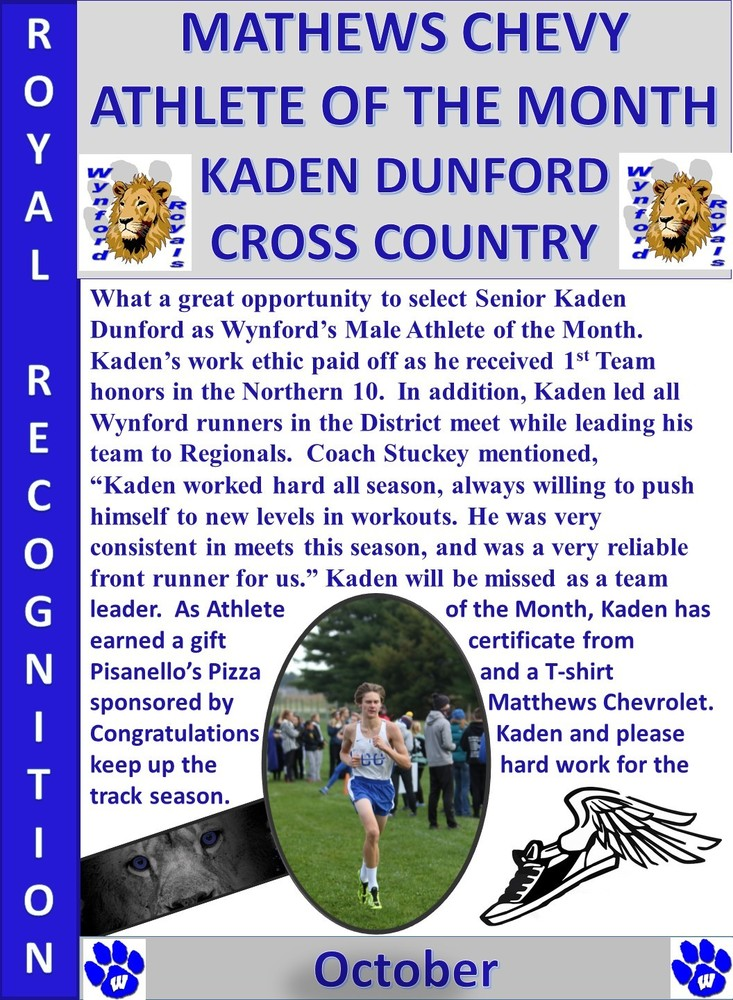 Kaden Dunford Boys Athlete of the Month