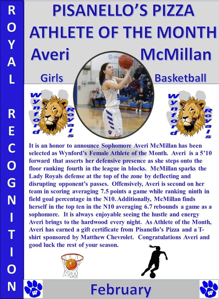 Averi McMillan February Female Athlete of the Month