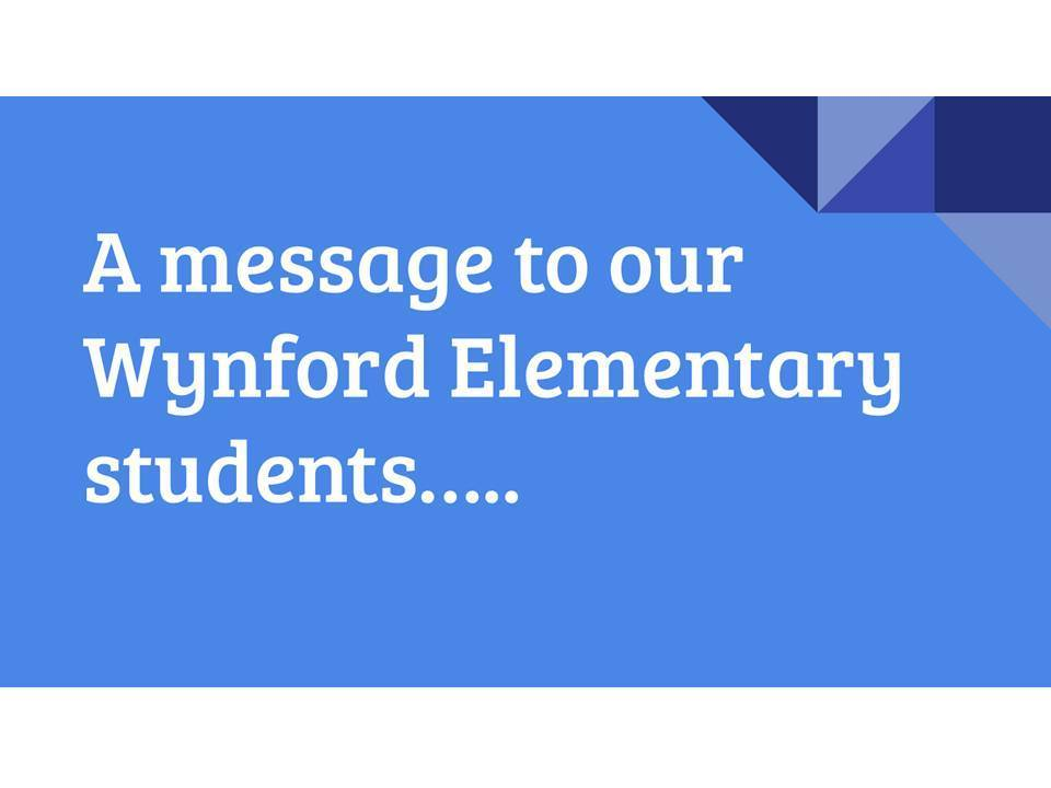 From Our Staff, to Our Students...