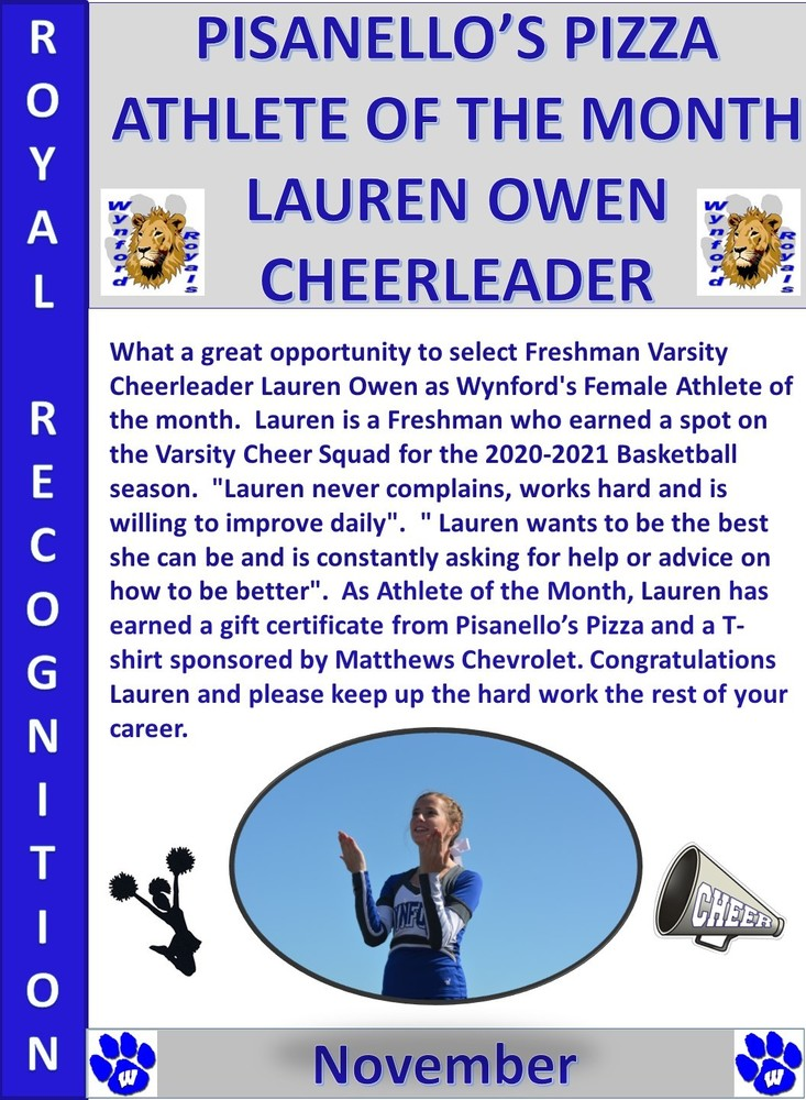 Lauren  Owen is the Female Athlete of the Month for November