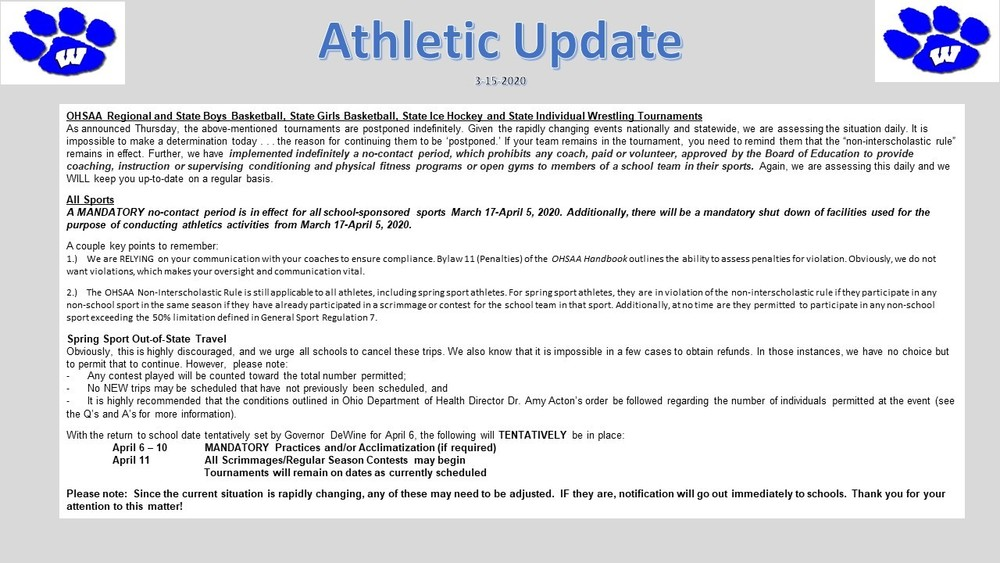 OHSAA Athletic Update