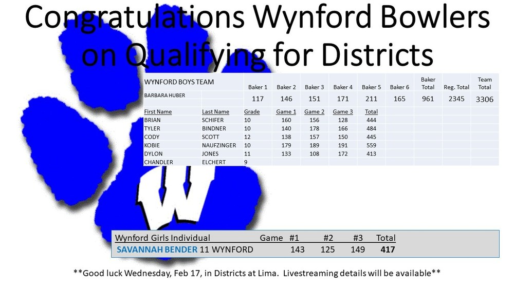 Wynford Bowlers Qualified for Districts