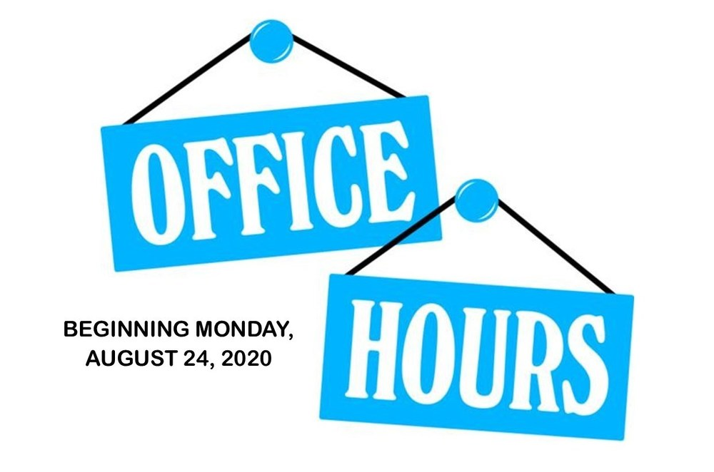 Offices Opening Monday, August 24, 2020
