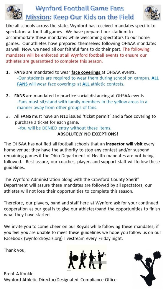 Wynford Home Football  Spectator Game New Guidelines 8/31/20