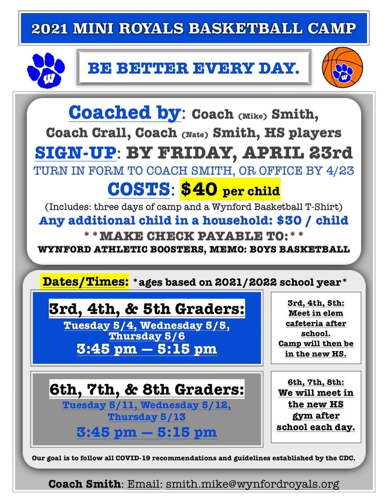 Wynford Elementary Boys Basketball Camp