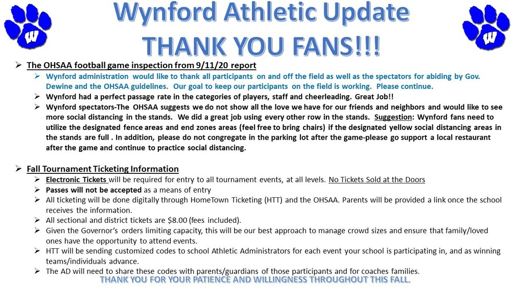 Wynford Athletic Update Thank You Fans 9-22-2020