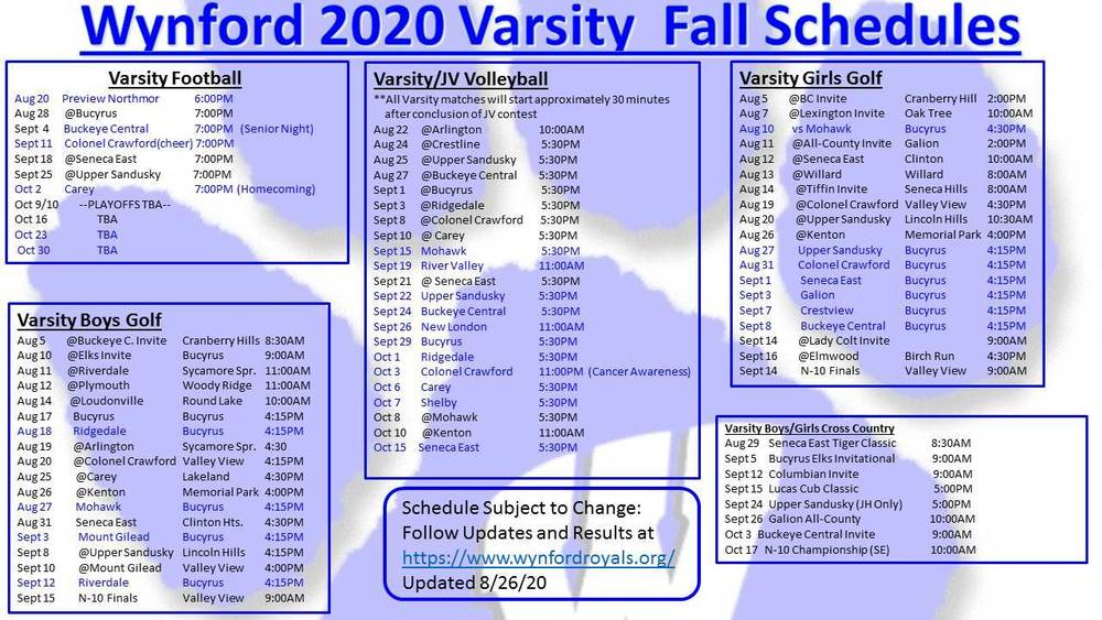Wynford Varsity Sports Schedules as of 8/26/20