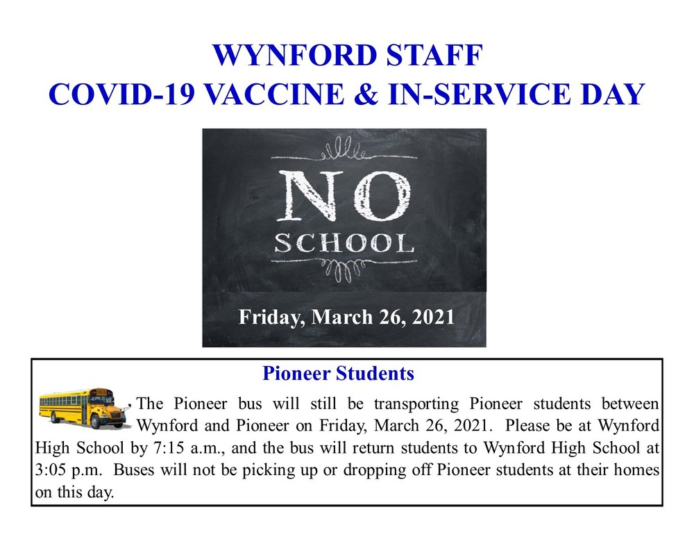 Friday, March 26, 2021 - NO SCHOOL