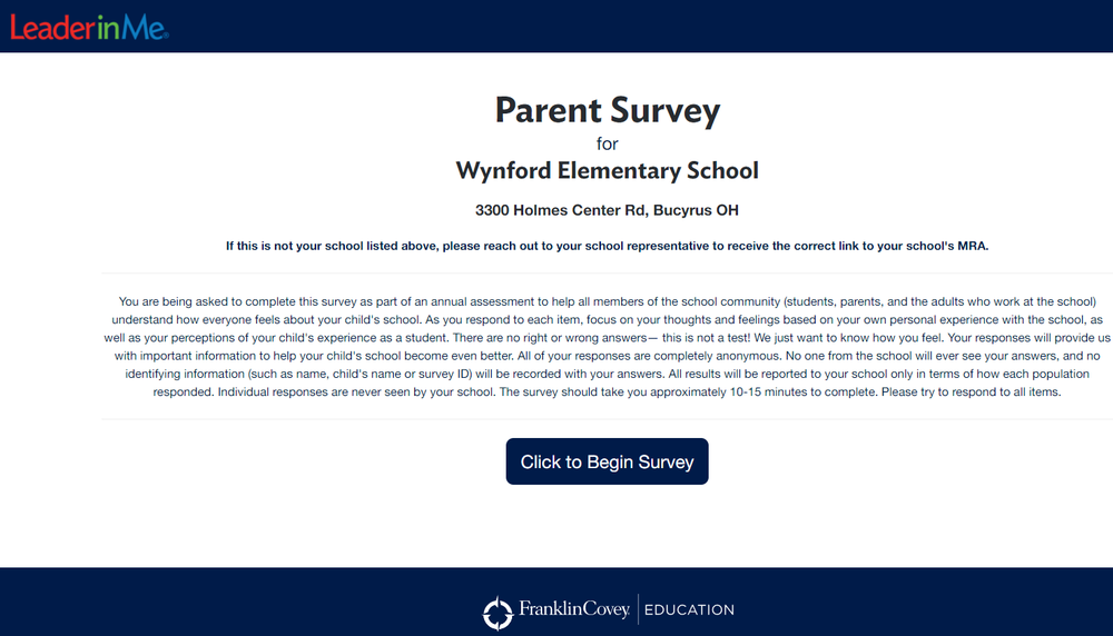 Wynford Elementary Parent Survey
