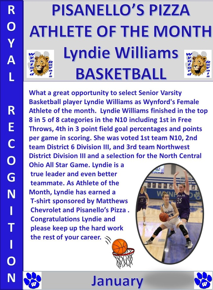 Lyndie Williams  Wynford Female Athlete of the Month