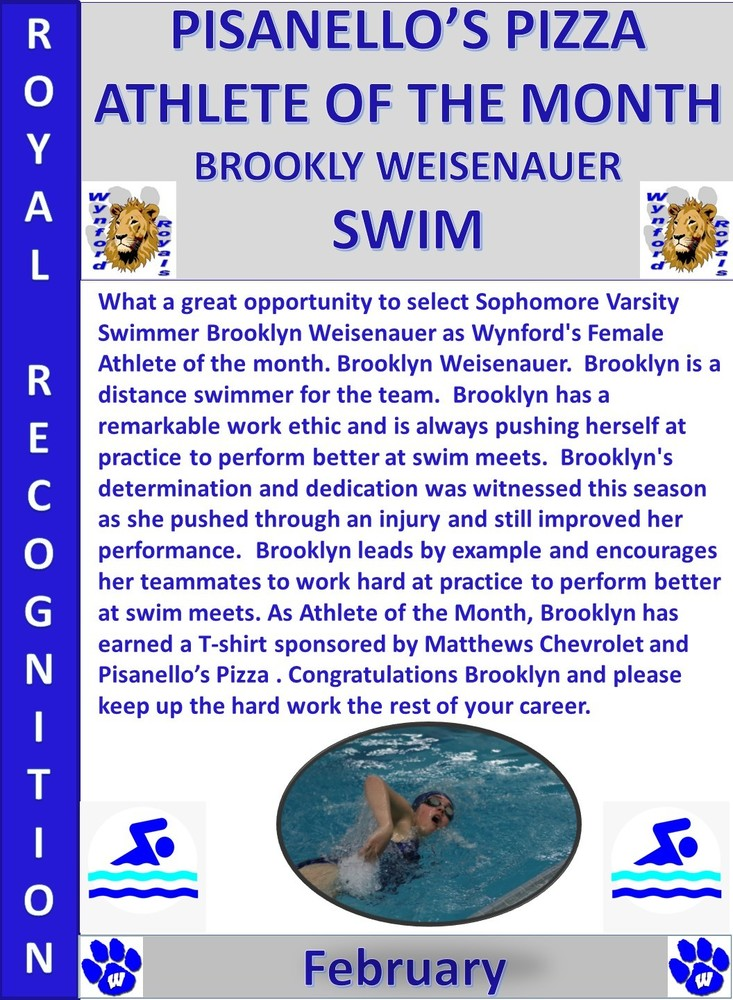 Brooklyn Weisenauer  Wynford Female Athlete of the Month