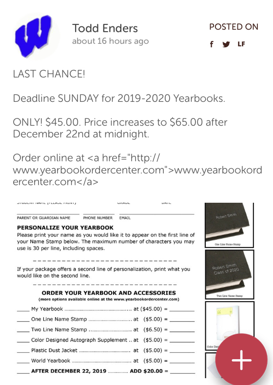 Last Chance to Order a 2019-20 Wynford Yearbook