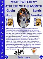 Gavin Burris February Boys Athlete of the Month