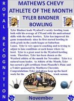 Tyler Bindner is the Male Athlete of the Month for November