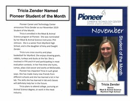 Tricia Zender Named Pioneer Student of the Month