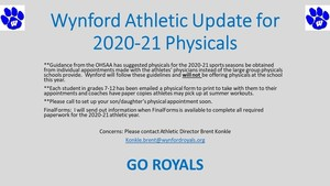 Wynford Athletic Update for 2020-21 Physicals