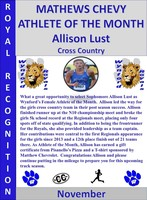 Allison Lust Girls Athlete of the Month