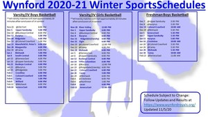 Wynford Winter Athletic Schedule Part 1 Nov 5-2020