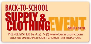 Bucyrus United Methodist Church Back-to-School Supply & Clothing Event