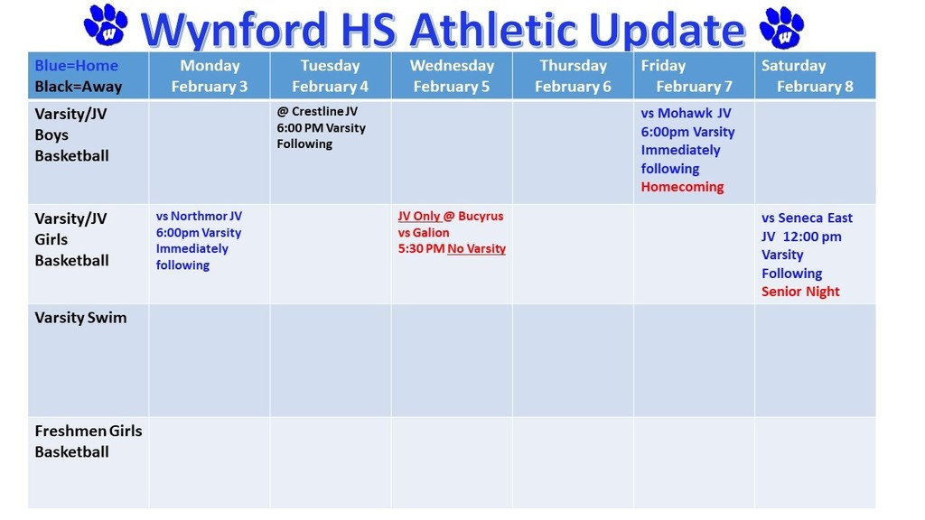 Wynford High SchoolAthletic Schedule Week February 3-8