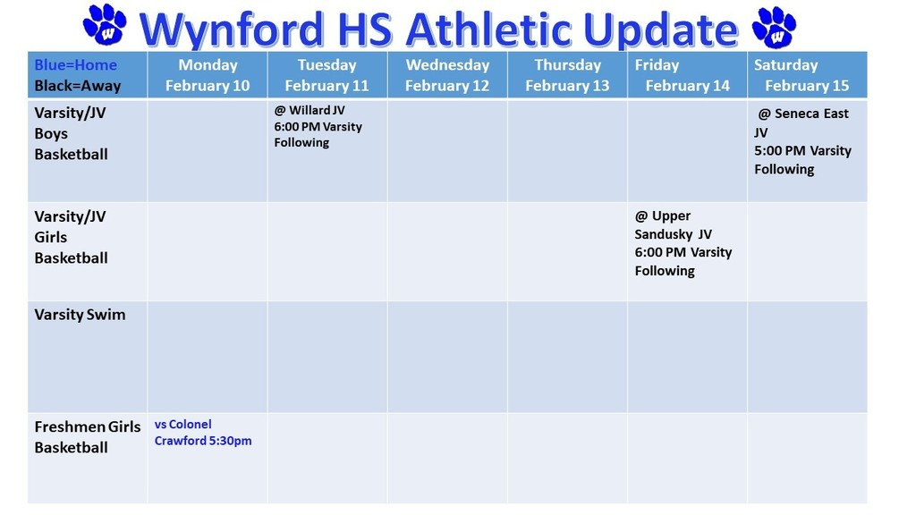 Wynford High School Athletic Schedule for the Week of February 10-15