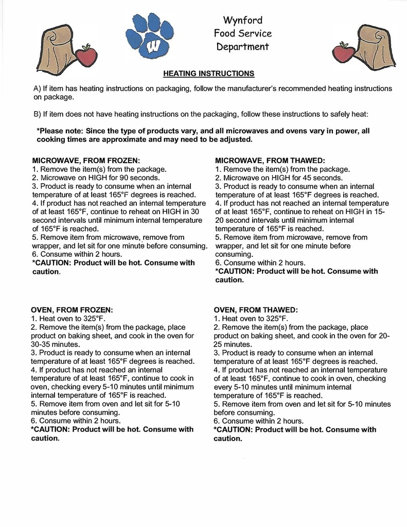 Meal Storage and Heating Instructions - Page 2